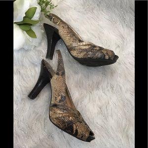 Ferglicious snakeskin print  slingback peep toe